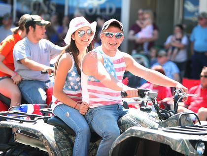 These ATV riders enjoyed nice weather and showed their patriotic spirit during Friday's parade.