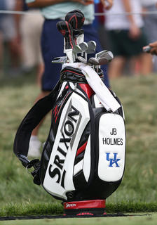 Campbellsville native J.B. Holmes' golf bag, featuring the University of Kentucky logo, sits near a tee box during a practice round at the PGA Championship at Valhalla Golf Club in Louisville on Tuesday afternoon.