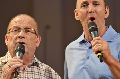 Leland Humphrey, at left, sings baritone, and Tim McClain sings lead vocals for The Joymakers.