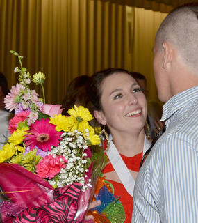 Katelyn McMahan smiles as she talks with Parker McCorvey after she was named Taylor County's Distinguished Young Woman for 2014.