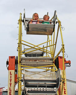 Haiden and Lucas Russell are on top of the world while riding the Little Wheel.