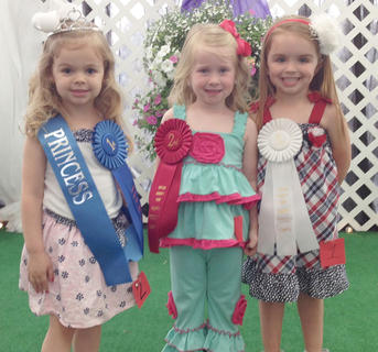 Winners of the 3-year-old girls category in the Miss and Mister Toddler Taylor County Fair pageant are, from left, winner Stella Elaine Wooley, first runner-up Adelyn Jade McMinoway and third runner-up Jacey Claire Farmer.