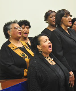 The Dr. Martin Luther King Jr. Choir entertains guests with their musical performance at the MLK reception on Saturday night.