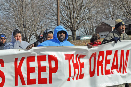 About 35 people brave the cold and wind to participate in the annual Dr. Martin Luther King Jr. march from Campbellsville Elementary School to First Baptist Church on Saturday.