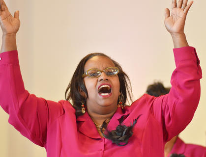 Amelia Spurling sings with Bethel AME Church Choir at this year's MLK worship service. The community's Ecumenical Ministerial Alliance hosted the service.