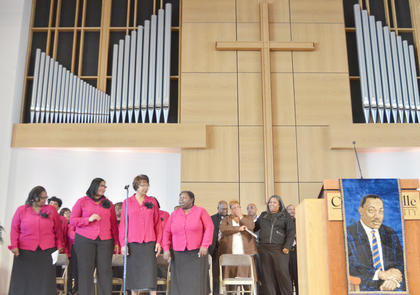The Bethel AME Church Choir performs a song in Campbellsville University's Ransdell Chapel at this year's MLK worship service.