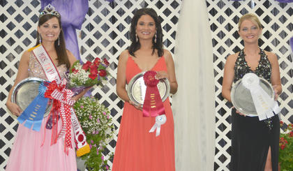 Winners of the Mrs. Taylor County Fair pageant are, from left, Mrs. Taylor County Fair Tiffany Thissen, first runner-up Faun Crenshaw and second runner-up Whitney Graham.