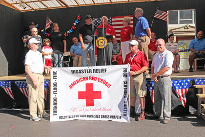 Taylor County's Red Cross disaster team is recognized by Taylor County Judge/Executive Eddie Rogers and Campbellsville Mayor Tony Young.