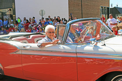 Classic cars like this one are always a popular choice of transportation for the parade.