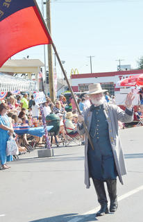 June Fields and other Tebbs Bend-Green River Battlefield Association members walked in the Fourth of July parade on Friday morning.