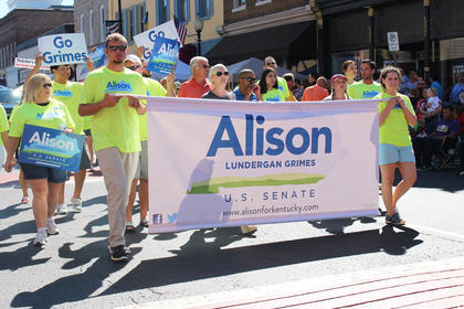 Democratic U.S. Senate candidate Alison Lundergan Grimes had many supporters walking in the parade.