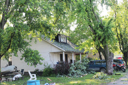 Falling tree branches brought power lines down with them in front of this home on Peterson Street.
