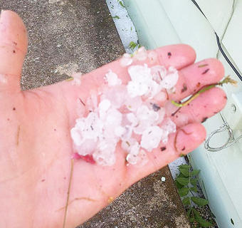 June Wiggins Roddy sent this photo of hail.