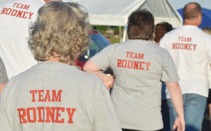 The Taylor Circuit Court Clerk's Office team walks in honor of Rodney Burress, Taylor County's Circuit Court Clerk, who is battling lung cancer.
