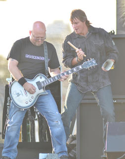 "David ""BB"" Benningfield, at left, and Troy Edelen of Rockcastle perform as the opening act for Exile."