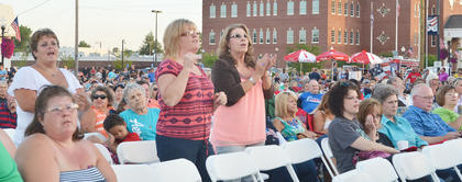 A large crowd came to hear Rockcastle and Exile perform.