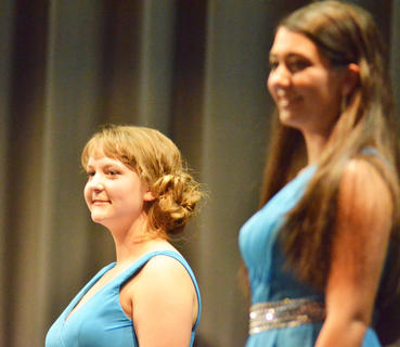 Abby Hieneman, at left, poses during self-expression. At right is Rachel Hinton, the talent winner and second runner-up.