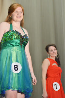 Emily Haley, at left, who was named second runner-up, performs during the self-expression portion of the competition. At right is Katelyn McMahan, who was named the winner of the competition.