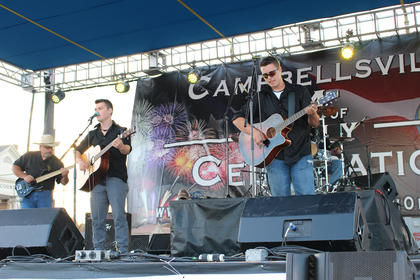 """Runners-up the KC River Band of Campbellsville were a crowd and judges' favorite with their original song """"My Old Green River."""""""