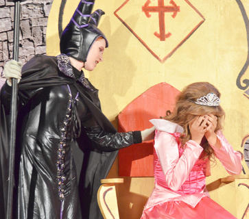 Callie Botkin portrays Sleeping Beauty, who, at first, believes Maleficent, played by Andie Woodcox, is there to comfort her but soon finds out she isn't.