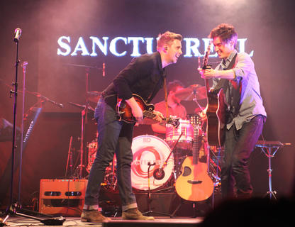 "Sanctus Real lead singer Matt Hammitt and guitarist Chris Rohman perform as part of the ""Hands of God"" tour at Living Grace Church in Campbellsville Friday night."