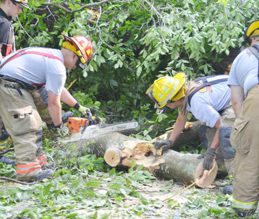 Campbellsville Fire & Rescue personnel spent several hours Thursday morning working to remove several trees that blocked the entrance to the Forest Hills Subdivision. From left are volunteer firefighter Cody Wood, Captain Chris Taylor and firefighters Alex Johnson and Brent Lile.