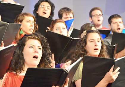 "University Chorale members perform ""All My Heart Again Rejoices."""