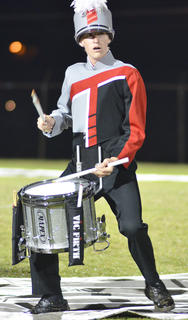 Marshall Steele plays snare drum for the TCHS band.