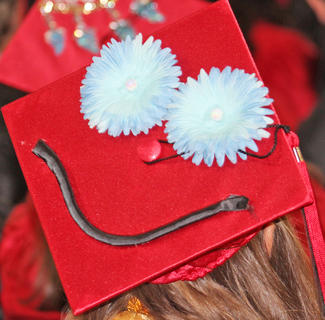 Decorated graduation caps like this one could be seen all around the gymnasium.