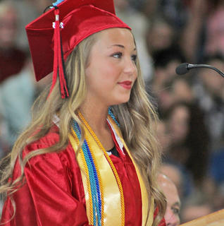 TCHS Senior Class President Gabrielle Pyles speaks to her classmates toward the beginning of the graduation ceremony.