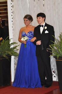 TCHS students Shelby Carney and Landon Walker smile for their official prom photo.