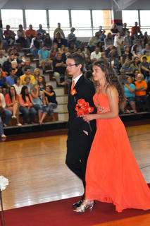 Mark Grenke and Katelynn Williams walk down the runway during TCHS prom walk-in.