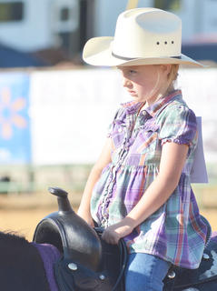 Bailey Gosser of Russell Springs sits atop her horse in this year's Tommie Johns Memorial Championship Horse show at the fair on Saturday.