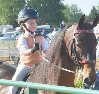 Addyson Wilson of Somerset participates in this year's Tommie Johns Memorial Championship Horse show at the fair on Saturday.