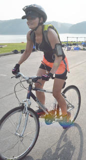 Renee Dobson of Campbellsville takes off for the 20-mile bike race.