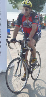 Larry Chesser of Harrodsburg starts his 20-mile bike race.