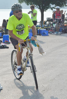 Otha Allen of Lebanon begins his 20-mile bike race.