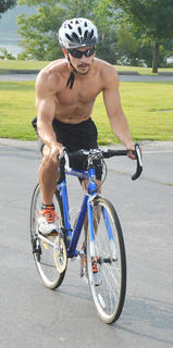 Drew Skaggs of Campbellsville begins the biking portion of the race.