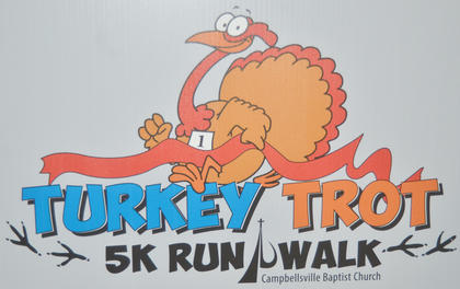 One-hundred and three people participated in the annual Turkey Trot 5K race at Campbellsville Baptist Church on Saturday morning. In all, about $1,200 was raised from registration fees to benefit Green River Ministries. Will Ballard finished the race first and took home first place in the male ages 15 to 19 category. In the male 14 and younger category, Ryan Maynard finished first. In the ages 20 to 29 category, Adam Reynolds was first. In the 30 to 39 category, Ryan Clenney crossed the finish line first for the men. In the 40 to 49 age group, Terry Holmes took first place. In the ages 50 to 59 category, David Massengale came in first. And Howard Humble was first in the 60 and older group. For the female categories, Emma Maynard came in first in the 14 and younger category. In the 15 to 19 age group, Julianna Bradley won first place. In the 20 to 29 category, Kimberely Cook took home first. In the 30 to 39 age group, Danielle Lee crossed the finish line first. In the 40 to 49 age group, Kathy Maynard finished first. In the ages 50 to 59 category, Jackie Bowen won first. And in the 60 and older category, Nancy McLean Dix came in first place.
