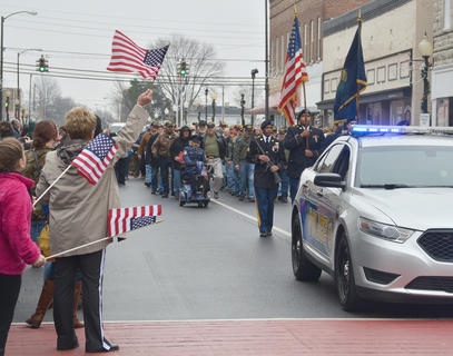 American flags could be seen all along the parade route.