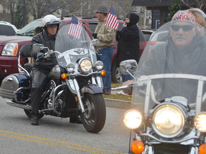 Patriot Guard riders make their way to the Campbellsville Civic Center.