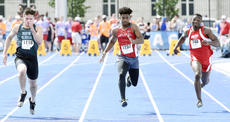 "<div class=""source"">photo/JILL PICKETT</div><div class=""image-desc"">Taylor County's Tre Goodin runs in a heat of the boys' 100-meter dash Saturday during the Class 2-A KHSAA State Track and Field Championships at the University of Kentucky in Lexington.</div><div class=""buy-pic""><a href=""/photo_select/67021"">Buy this photo</a></div>"
