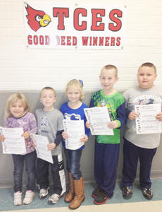 """<div class=""""source""""></div><div class=""""image-desc"""">Taylor County Elementary School recently announced its Good Deed winners for the week of Oct. 19. They are, from left, Charity Baumgardner, Kendall Delk, Raegan Jones, Zac Smith and Scott Hall. </div><div class=""""buy-pic""""></div>"""