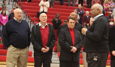 """<div class=""""source"""">Jeff Moreland</div><div class=""""image-desc"""">Brent Cox, left, was among those on hand to celebrate the dedication of the basketball court at Taylor County High School as """"Clem Haskins Court in January. Cox was a longtime friend and supporter of Haskins, who called Cox a close friend, and his number one fan, other than his family.</div><div class=""""buy-pic""""><a href=""""/photo_select/66621"""">Buy this photo</a></div>"""