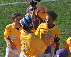 """<div class=""""source"""">photo/JOSH CLAYWELL</div><div class=""""image-desc"""">Campbellsville's John Orberson, middle, is congratulated by teammates Ryan Kearney, left, and Ethan Lay after he scored a run in the 20th District Baseball Tournament championship against Adair County on Thursday.</div><div class=""""buy-pic""""><a href=""""/photo_select/67008"""">Buy this photo</a></div>"""