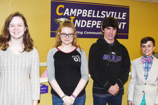 """<div class=""""source"""">Campbellsville Independent Schools</div><div class=""""image-desc"""">From left, CMS seventh-graders MaCayla Falls and Whitney Frashure, eighth-grader Peyton Dabney and seventh-grader Chase Hord are recognized at the Board of Education meeting on Monday, Feb. 12, for their recent academic team and Beta successes.</div><div class=""""buy-pic""""><a href=""""/photo_select/66591"""">Buy this photo</a></div>"""