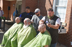 "<div class=""source"">Photo/Zac Oakes</div><div class=""image-desc"">from left, Stan McKinney, Rick Wilson and Alex Meade have their heads shaved. Their team, known as the ""Media Mad Men,"" raised more than $500 for the event, which raises money to fight childhood cancer.</div><div class=""buy-pic""><a href=""/photo_select/66911"">Buy this photo</a></div>"