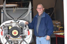 """<div class=""""source"""">Zac Oakes</div><div class=""""image-desc"""">David Banahan poses with the Xenith 750 Cruzer airplane he is constructing in his basement in Campbellsville. He plans to have it completed by May, in time to travel to an air show in Osh Kosh, Wisconsin. </div><div class=""""buy-pic""""><a href=""""/photo_select/66383"""">Buy this photo</a></div>"""