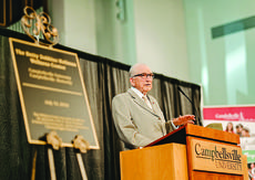 "<div class=""source"">photo/JOSHUA WILLIAMS, CU</div><div class=""image-desc"">Dr. E. Bruce Heilman talks about his wife, the late Betty Dobbins Heilman, for whom the Betty Dobbins Heilman Student Wellness Center is named, at the dedication ceremony.</div><div class=""buy-pic""></div>"
