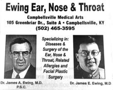 """<div class=""""source"""">File</div><div class=""""image-desc"""">This advertisement promoting the Ewing Ear, Nose, and Throat practice was published 20 years ago, as Dr. James A. Ewing was joined by his son in his Campbellsville practice. The senior Ewing said practicing alongside his son was a """"tremendous blessing."""" </div><div class=""""buy-pic""""><a href=""""/photo_select/66423"""">Buy this photo</a></div>"""